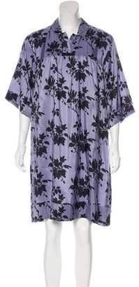 Dries Van Noten Floral Print Silk Knee-Length Dress