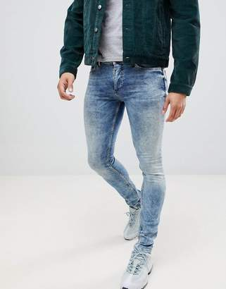 Religion skinny fit jean with stretch and bleached hem