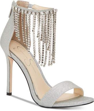 Jessica Simpson Jiena Rhinestone-Fringe Dress Sandals Women Shoes