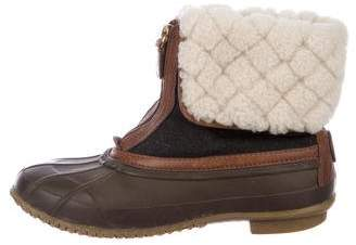 Tory Burch Shearling-Trimmed Ankle Boots