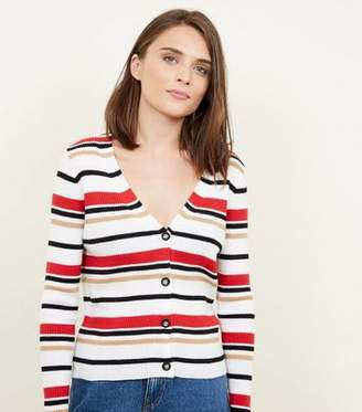 New Look White Multi Stripe Ribbed Cardigan