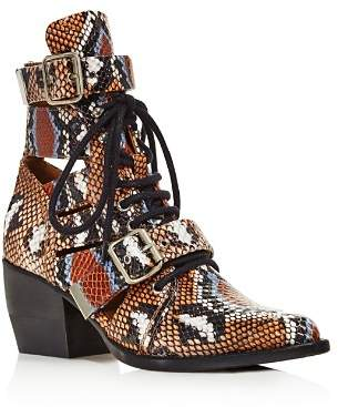 Chloé Women's Rylee Snake-Embossed Leather Cutout Lace Up Booties