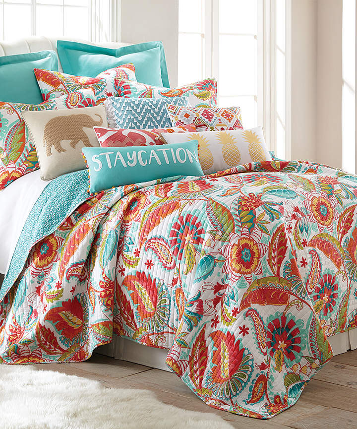 Teal & Red Floral Quilt Set