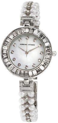 Adrienne Vittadini Collection Women Silver Quartz Watch with Roman Numerals and Mother of Pearl Dial and Stone Accent Strap