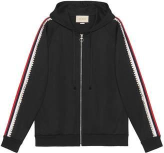 Gucci Black Crystal Stripe Zipped Sweatshirt