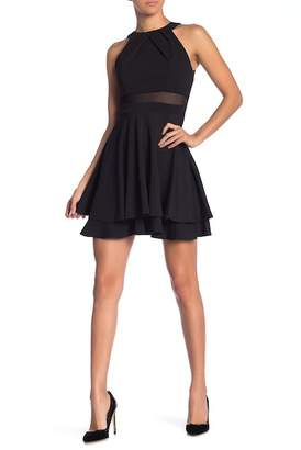 Love, Nickie Lew Illusion Panel Ruched Skater Dress