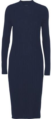 Maison Margiela - Ribbed Wool Midi Dress - Navy $960 thestylecure.com