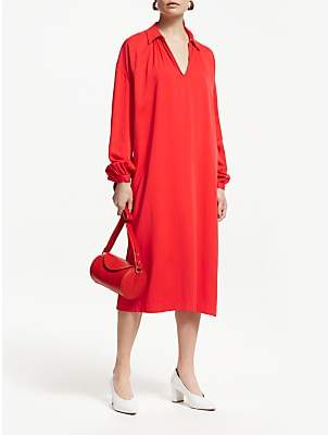 John Lewis & Partners Gather Neck Blouson Sleeve Shirt Dress