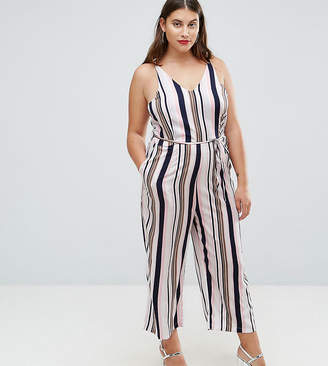 AX Paris Plus Stripe Culotte Jumpsuit