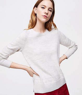 LOFT Petite Shimmer Round Neck Sweater