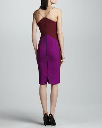 Narciso Rodriguez Spaghetti-Strap Stretch Pique Dress, Maroon/Iris