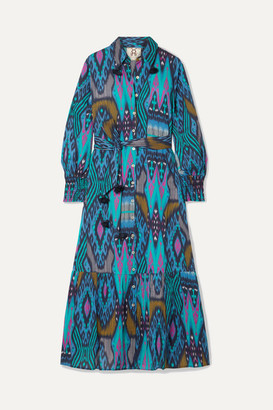 Figue Indiana Tasseled Printed Cotton Midi Dress - Blue