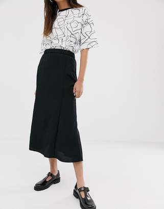 Monki midi skirt in black