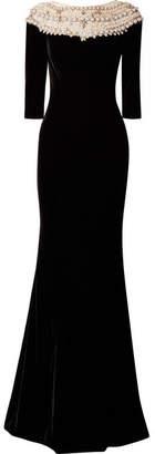 Marchesa Embellished Tulle-trimmed Velvet Gown - Black