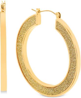 Steve Madden Gold-Tone Glitter Hoop Earrings