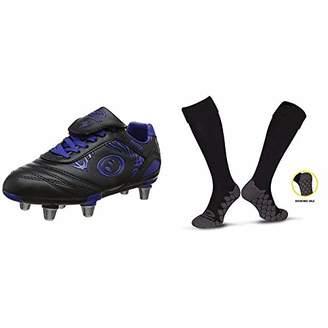Optimum Boys Razor Rugby Boots, Black/Blue, 36 EU with Men's Classico Sports Socks, Black, Junior (3-6)
