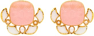 Mother of Pearl Carousel Jewels & Carved Rose Quartz Earrings