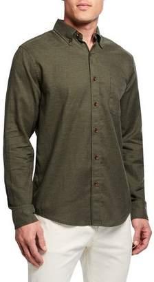 Faherty Men's Oxford Melange Long-Sleeve Sport Shirt, Green