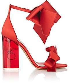 Maison Margiela Women's Ring-Detail Satin Ankle-Strap Sandals-Red