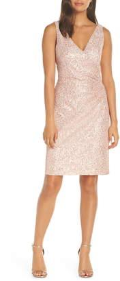 Vince Camuto Sleeveless V-Neck Embellished Cocktail Dress