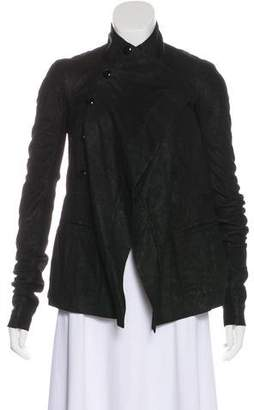 Rick Owens Leather Rib Knit Jacket