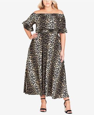 City Chic Trendy Plus Size Animal-Print Off-The-Shoulder Maxi Dress