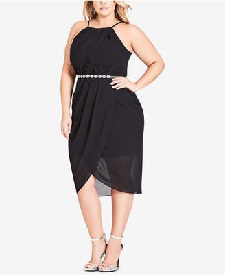 City Chic Trendy Plus Size Belted Faux-Wrap Midi Dress