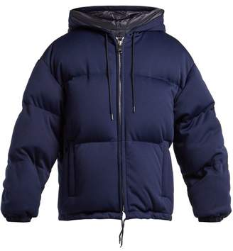 Prada Down Quilted Technical Jersey Hooded Jacket - Womens - Blue