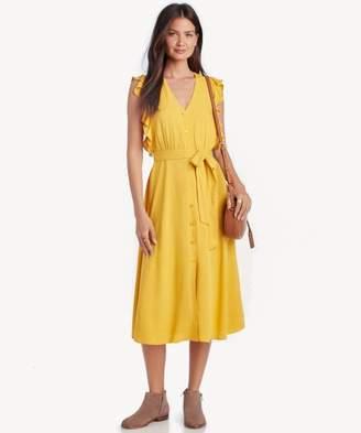 Sole Society Buttondown Midi Dress w/ Ruffles