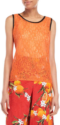 Dolce & Gabbana Orange Lace Sleeveless Top