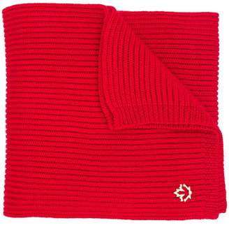 DSQUARED2 ribbed logo plaque scarf