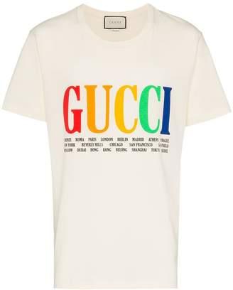 Gucci rainbow cities print cotton t shirt