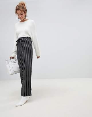 QED London wide leg stripe pants with sash belt