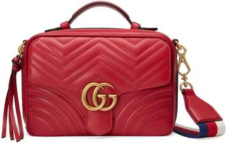 Gucci Small GG Marmont 2.0 Matelasse Leather Camera Bag with Webbed Strap
