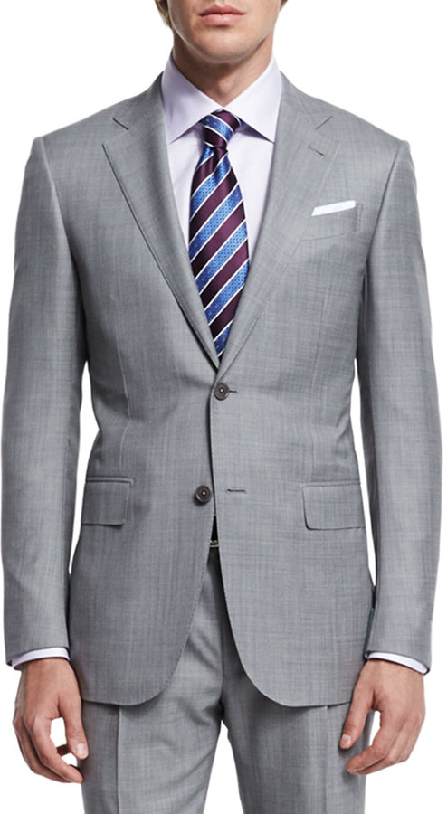 Ermenegildo Zegna Sharkskin Two-Piece Trofeo® Wool Suit, Light Gray 4