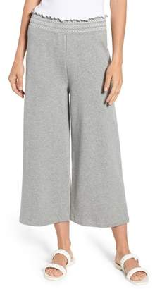 Kate Spade Smocked Wide Leg Crop Sweatpants