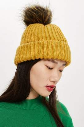 31937cc9cbb Topshop Womens Knitted Faux Fur Pom Hat