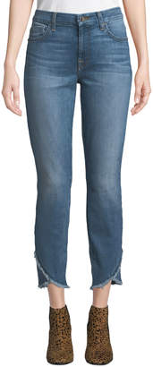 7 For All Mankind Jen7 By Mid-Rise Ankle Skinny Jeans w/ Scallop Hem