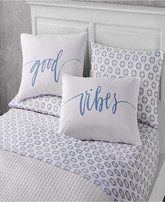 Sanders Happy Vibes 6 Piece Full Size Microfiber Sheet Set With Novelty Pillowcases Bedding