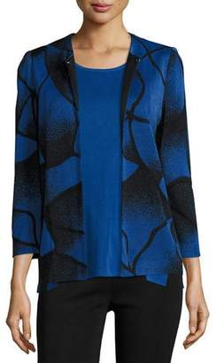 Misook Ribbed Bracelet-Sleeve Jacket, Lyons Blue/Black