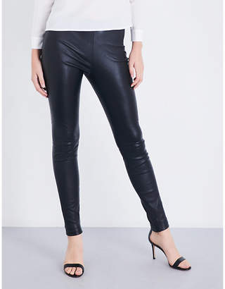 Maje Smarto high-rise stretch-leather leggings
