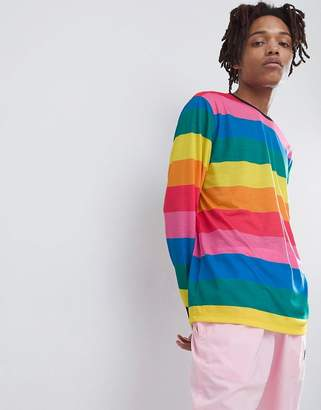Asos DESIGN relaxed long sleeve t-shirt with rainbow stripe