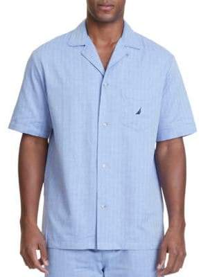 Nautica Herringbone Plaid Pajama Shirt