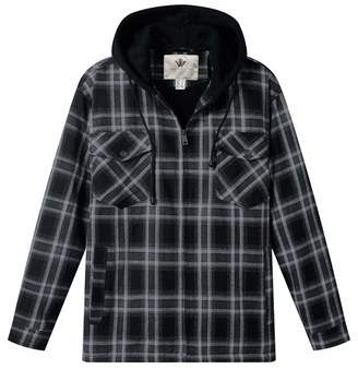 983377a5d75 WenVen Men s Soft Flannel Plaid Shirt Jacket Long Sleeve Hooded Fleece Lined  Coat
