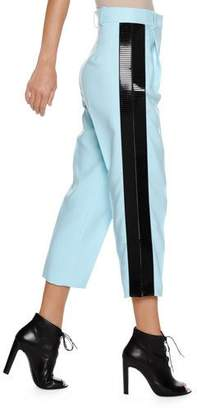 Emporio Armani High-Waist Straight-Leg Cropped Pants w/ Contrast Side Stripe