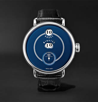 IWC SCHAFFHAUSEN Tribute To Pallweber Edition 150 Years 45mm Stainless Steel And Croc-Effect Leather Watch