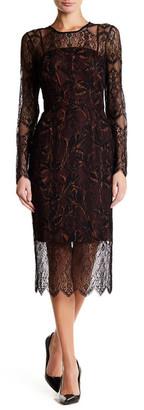 Rachel Rachel Roy Long Sleeve Lace Overlay Midi Dress $189 thestylecure.com