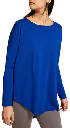 Marina Rinaldi Plus Size Crewneck Long-Sleeve Wool Sweater with Back Pleat