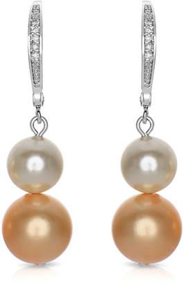 Genevive Silver Pearl & Cz Earrings