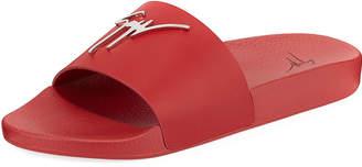 Giuseppe Zanotti Logo Leather Slide Sandals